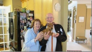 Max (formerly Bean) with Eileen and Si Grobard (Feb. 2013)